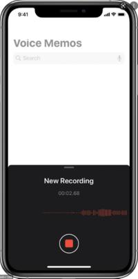 Apple Voice memo app in process of recording